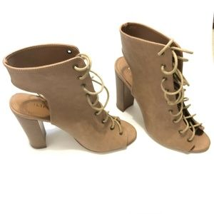 Liliana Size 9 Open Heels Shoes Women Taupe Brown